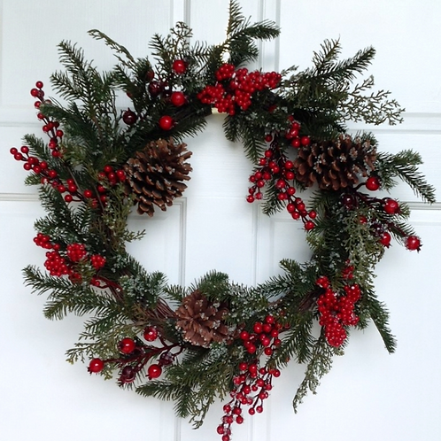 "Faux Sugar Berry Pinecone Wreath 22 "" - Holiday Collection"