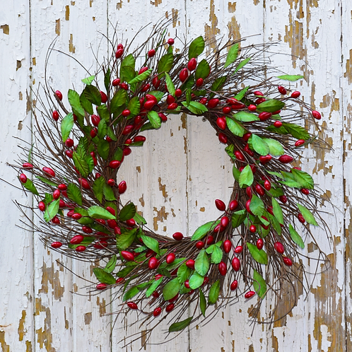"""Faux CRANBERRY RED WREATH - 20"""""""