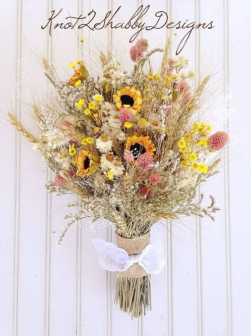 Dried Flower and Faux Sunflower fields bouquet