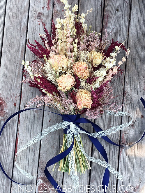Dried Peonies Bridal bouquet in Wine and Blush