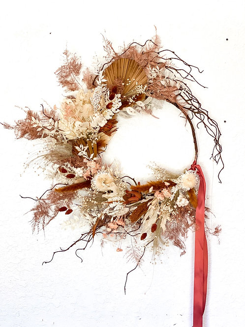 Goldie collection - boho bleached , rust and mauve dried wreath