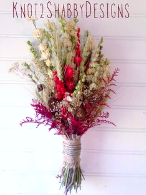 barn red and chocolate dried Bridesmaids bouquet