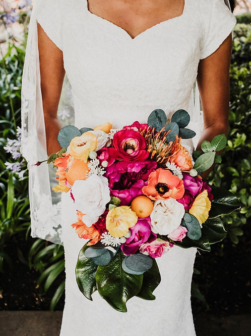 The Sydney collection - Peony bridal bouquet with lemon poppies