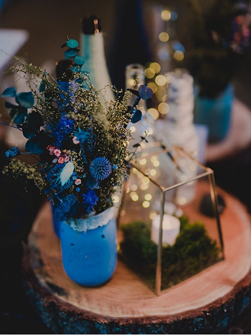 Rustic Blue gray thistle and sweet annie Centerpieces