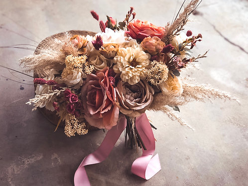 The Blair Collection - Dusty rose silk bridal bouquet