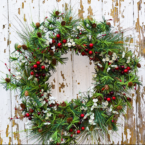 """FAUX HOLIDAY PINE & BERRY WREATH - 24"""""""