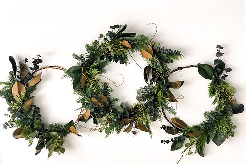 Magnolia and curly willow set of three rustic Christmas wreaths