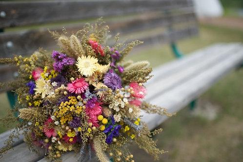 Straw flower bridal bouquet