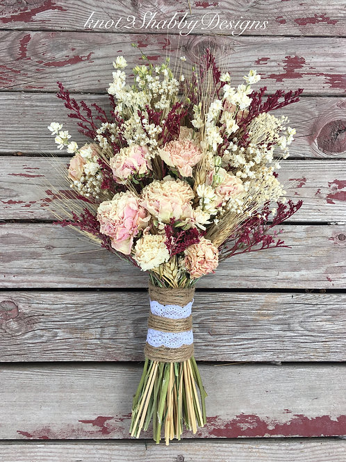 Marsala and blush peonies dried flower bridal bouquet