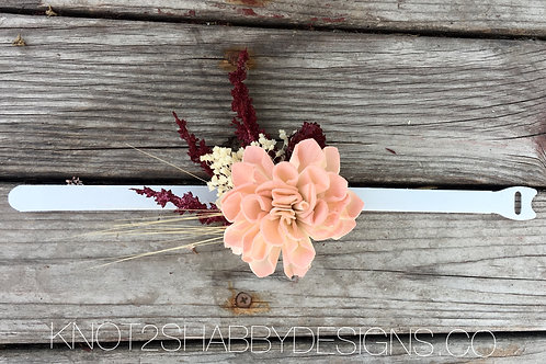 Wine and Blush sola flower wrist corsage