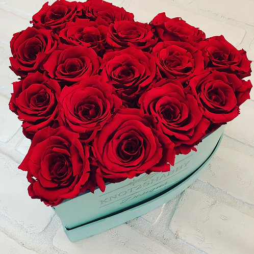 large heart Red forever rose box