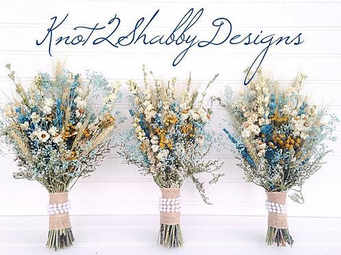 Spring Teal Bridesmaid Wildflower Bouquet