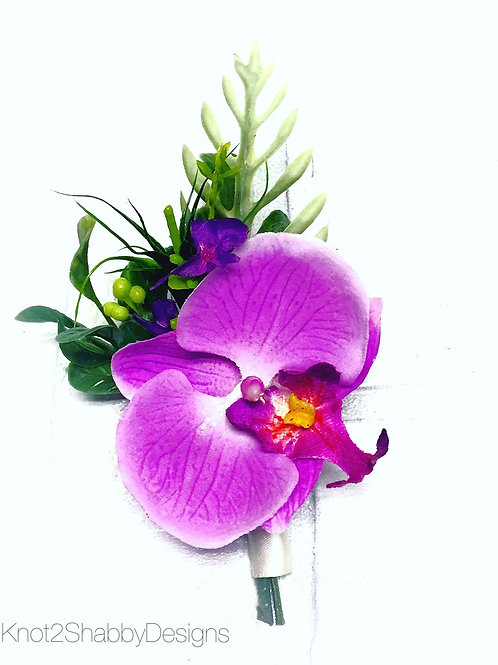 Real touch Faux Orchid boutonniere