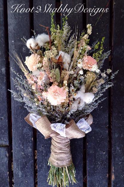 Dried Flower Bridal - Cotton and blush sola flower bouquet