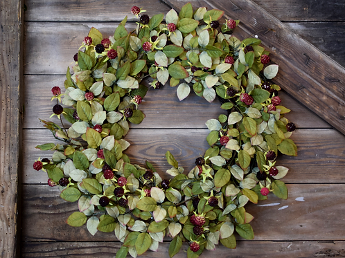 Faux Blackberry Bush Wreath - Holiday Home Collection