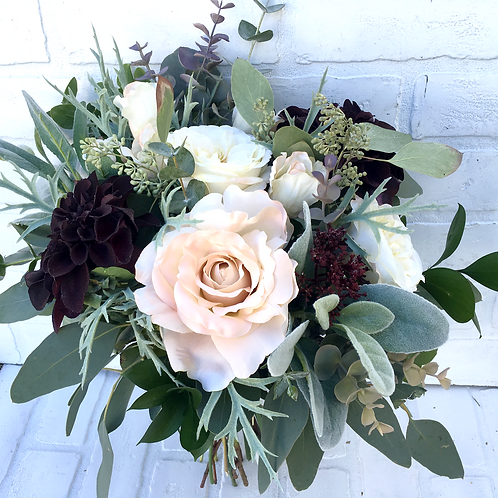 Midnight Burgundy and Nude silk wrapped flower bouquet