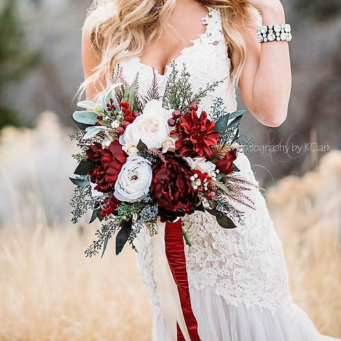Mary collection - burgundy Silk Bridal bouquet