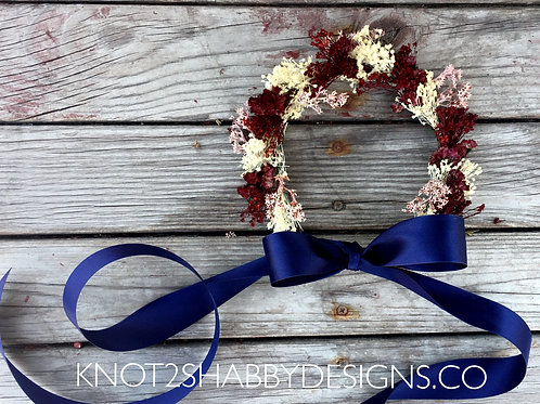 Dried Wine and Blush baby's breath headwreath
