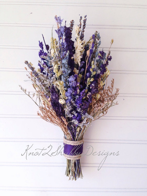 Purple and Gold Dried Flower Bridal Bouquet | Wedding Flowers ...