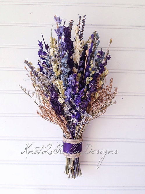 Purple and Gold Dried  Flower Bridal Bouquet