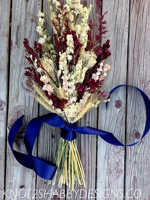 Claret wine and Blush dried Bridesmaids bouquet