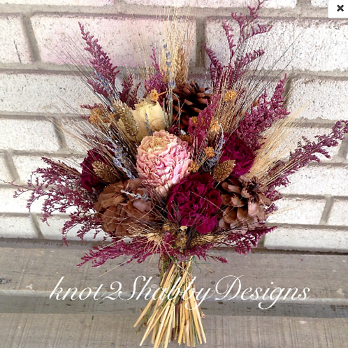 Bohemian Fall Dried Flower Peonies bouquet