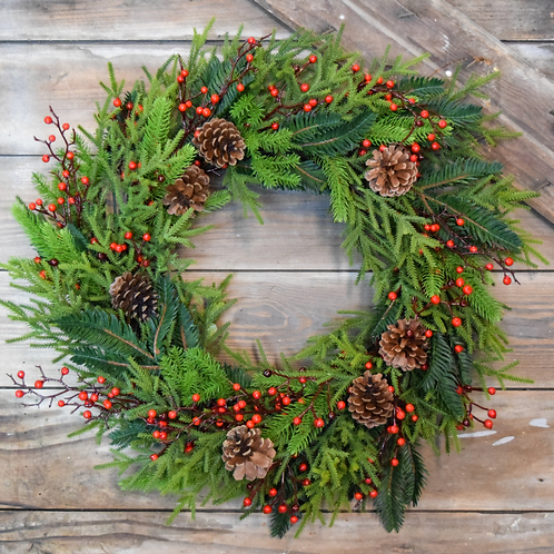 "Faux Princess Pine and Berry 24 "" Wreath - Holiday collection"
