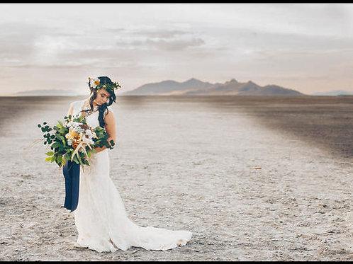 Bohemian antler everlasting Bridal bouquet