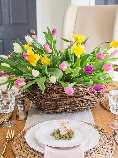 Large  Fresh foral Easter basket nest centerpiece