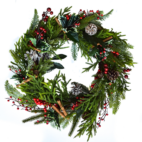"Faux 22 "" Cinnamon and berry Wreath - Holiday Collection"