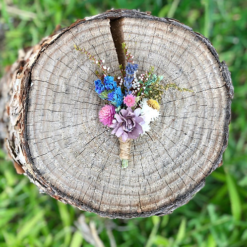 Dusty blue and pink dried wildflower Boutonniere