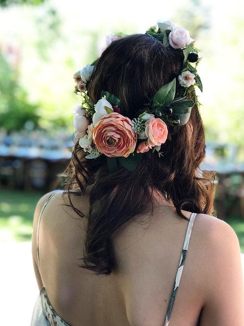 Silk Peach ranunculus flower crown