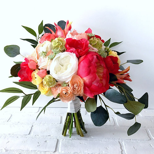 Red Anemone and Peach peonies silk bridal bouquet