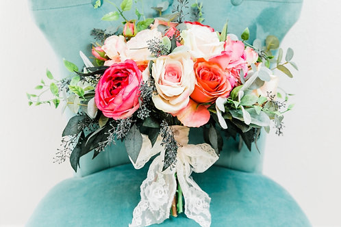 The Piper Collection -  ombré Silk bridal bouquet with dried eucalyptus