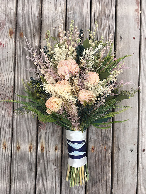 Dried Peonies and eucalyptus Bridal bouquet