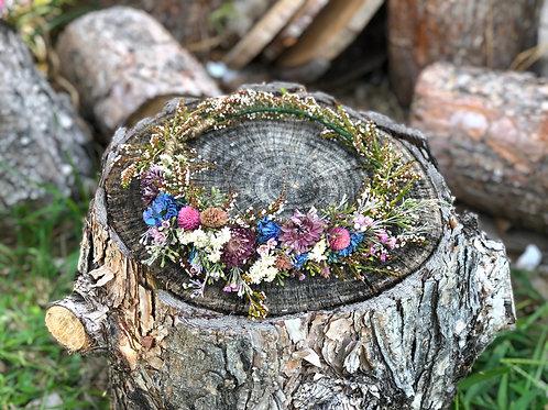 Dusty blue fields bridal dried flower crown