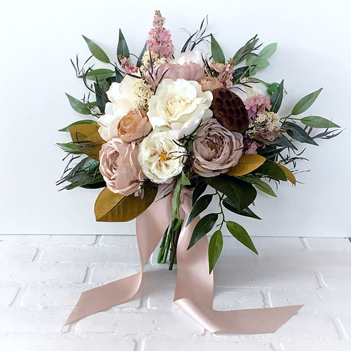 The Philippa Collection -  Blush and Carmel Magnolia Pod Silk bridal bouquet