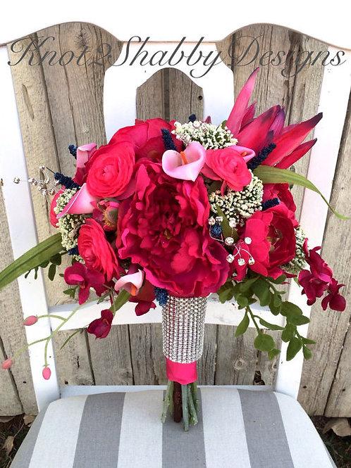 Hot Pink Faux Large Bridal Bouquet