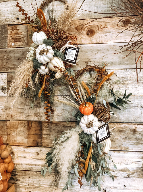 Farmhouse muted fall pumpkin swag