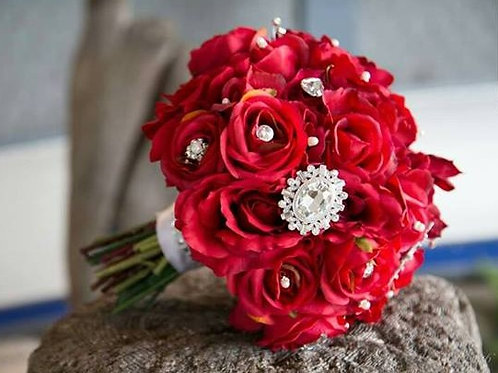 Faux Rose Bridal Bouquet With Antique charms