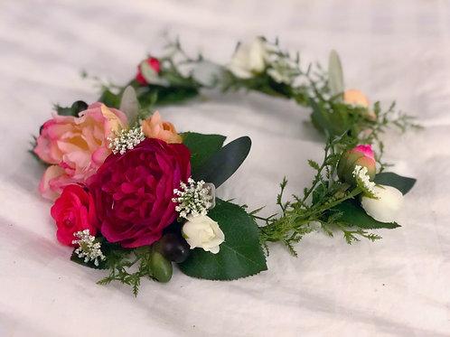 Raspberry pink silk flower crown