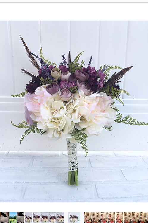 Silk Pheasant blush and plum Bridal bouquet
