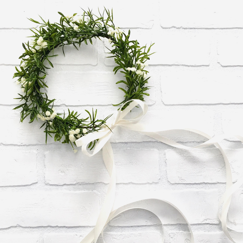 Babys breath and greenery faux flower crown izmirmasajfo