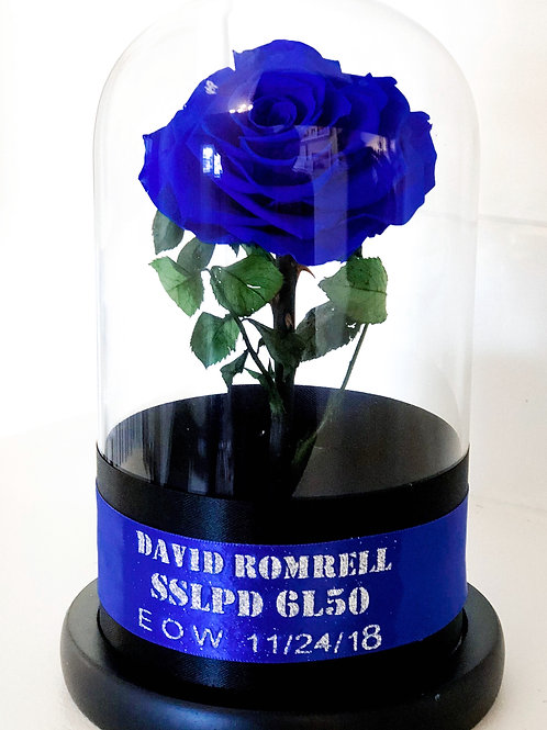 Blue line police tribute Cloche eternity rose Dome
