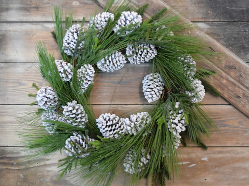 SNOWY PINE CONE WREATH - 24""