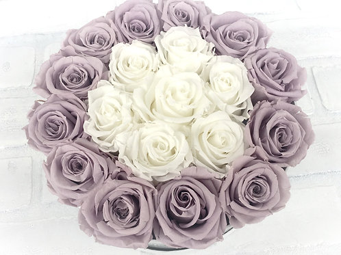 Lavender and Cream Round Forever Rose box