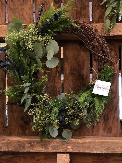 Fresh Christmas asymmetrical wreaths