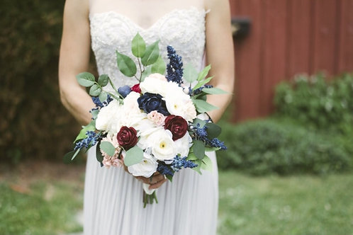 Maroon and Navy Faux Ear lamb Bouquet