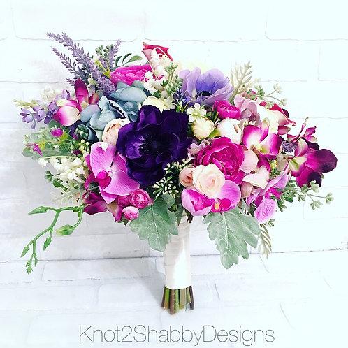 Faux Orchid anemone bouquet