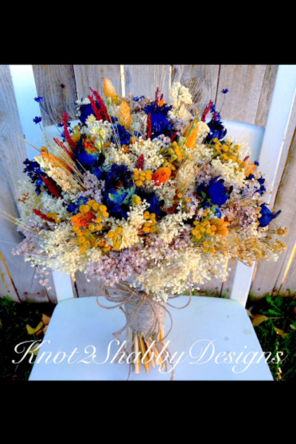 Fall Navy and Mustard Dried flower bouquet